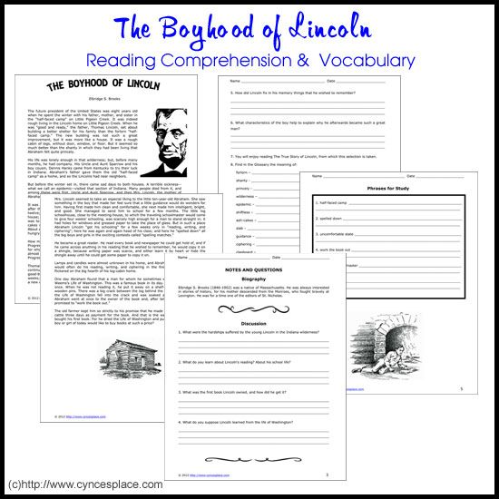 Abraham Lincoln Reading Comprehension and Vocabulary Worksheets