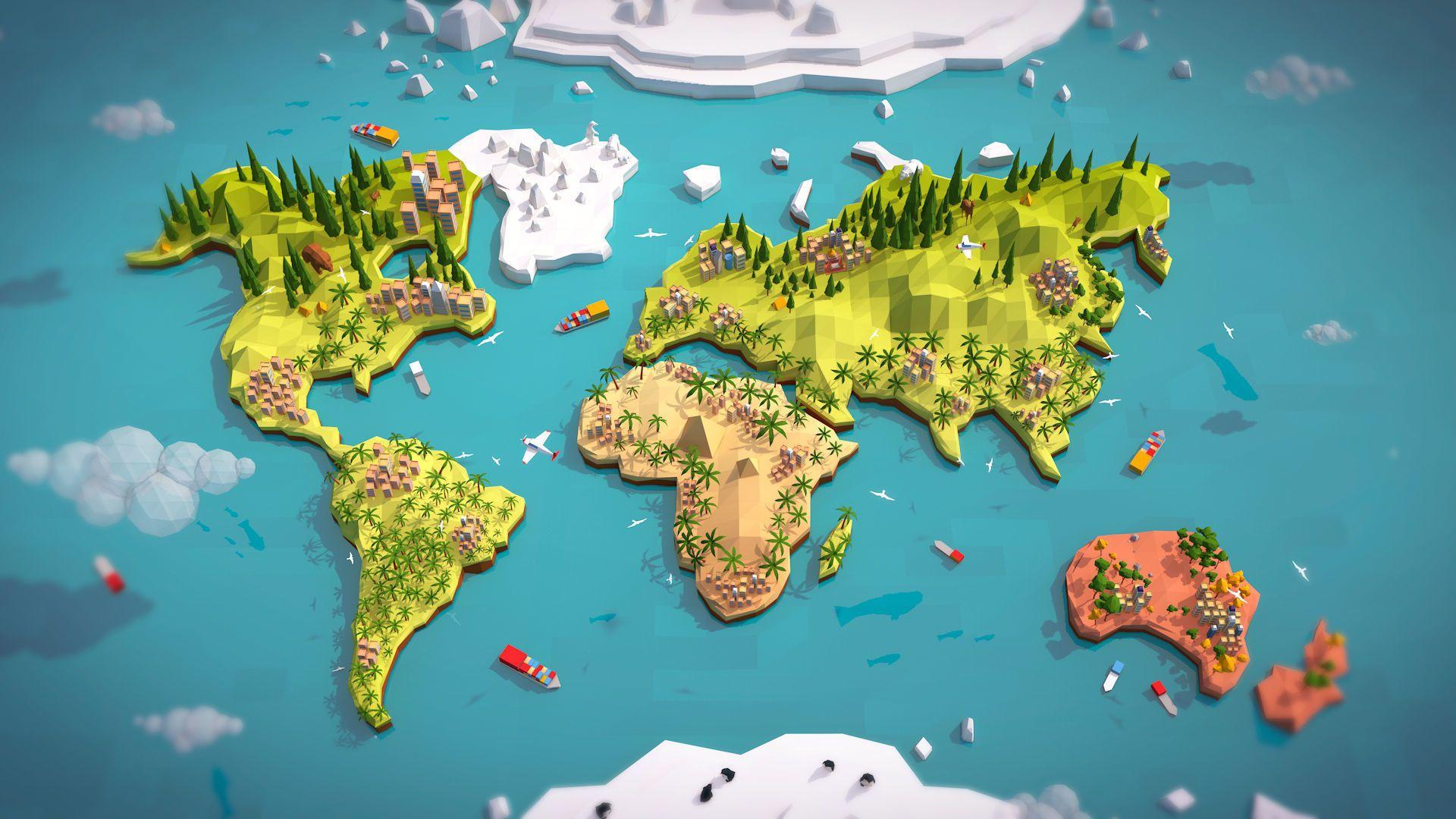 Cartoon Low Poly Earth World Map 3d Model 그래픽