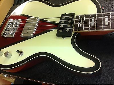 """Musicvox Reverse Space Cadet 34"""" Limited Custom Bass 1 Of 4 Ivory & Red"""