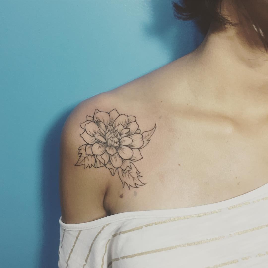 Image Result For Minimalist Dahlia Tattoo Dahlia Tattoo Flower Tattoo Shoulder Dahlia Flower Tattoos