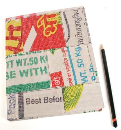 £7.00 Recycled rice sacks notebook from India.  #Fairtrade #Eco #Rice #Recycled #Stationery