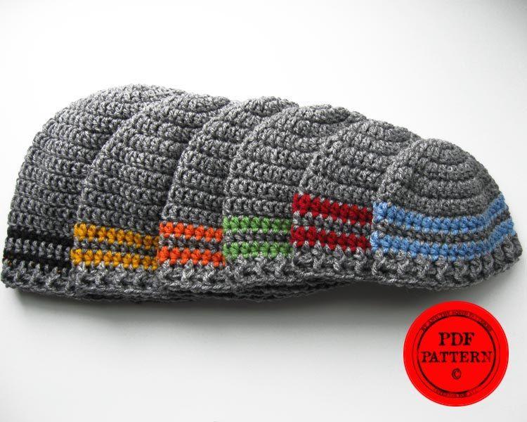 Crochet hat pattern basic two stripe easy beanie pattern hat pattern ...