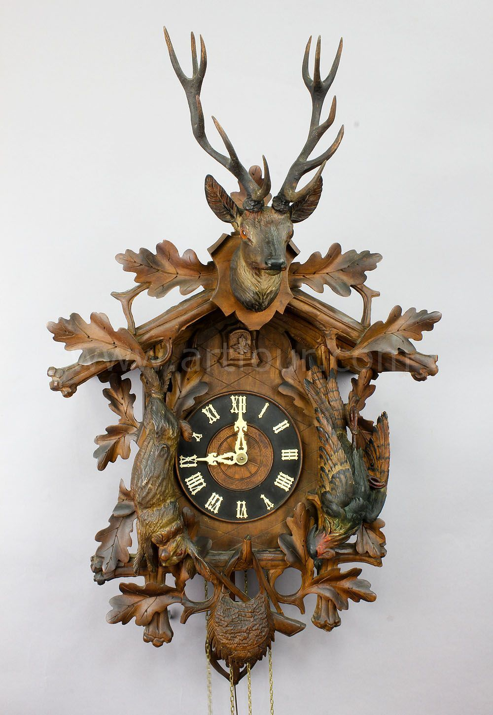 Antique black forest carved wood cuckoo clock antique - Wooden cuckoo clocks ...