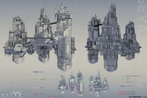 Sevastopol Space Station, Alien: Isolation, 2014. Discover this amazing and huge collection of Concept Art from Alien: Isolation made by Bradley Wright.