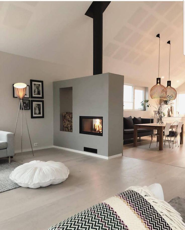 Photo of Wohndesign | Kamin im Wohnzimmer | Kamin als Trennwand zwischen Wohn- und …  #kamin #trennwand #wohndesign #wohnzimmer #zwischen