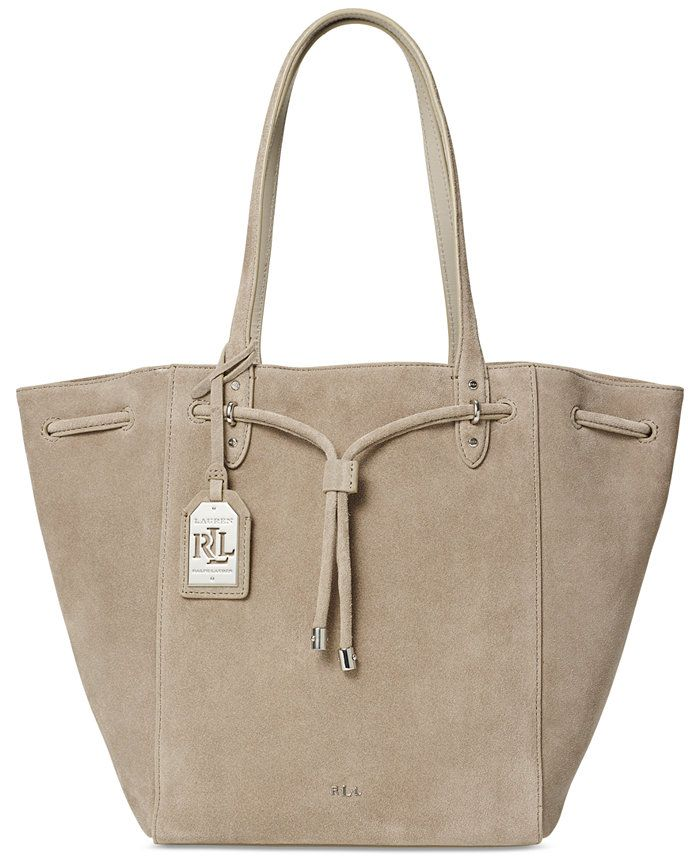 LAUREN RALPH LAUREN, Lauren Ralph Lauren Oxford Suede Tote, was $248.00, now $185.99 From Macy's