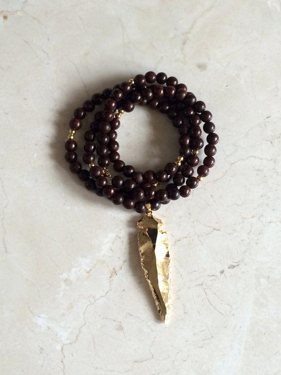 Dark Brown Wood Bead Necklace // Gold Arrowhead by kandkdesignss