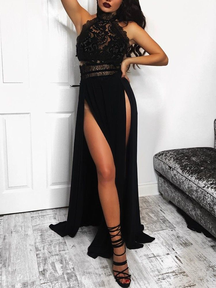 3215806883 Crochet Lace Halter High Slit Maxi Dress