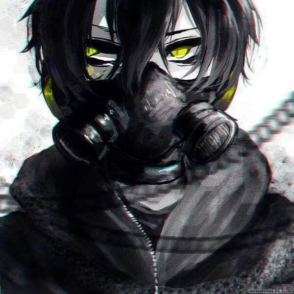 Anime Boy With Black Hair Green Eyes And Gas Mask Black Haired Anime Boy Anime Gas Mask Dark Anime