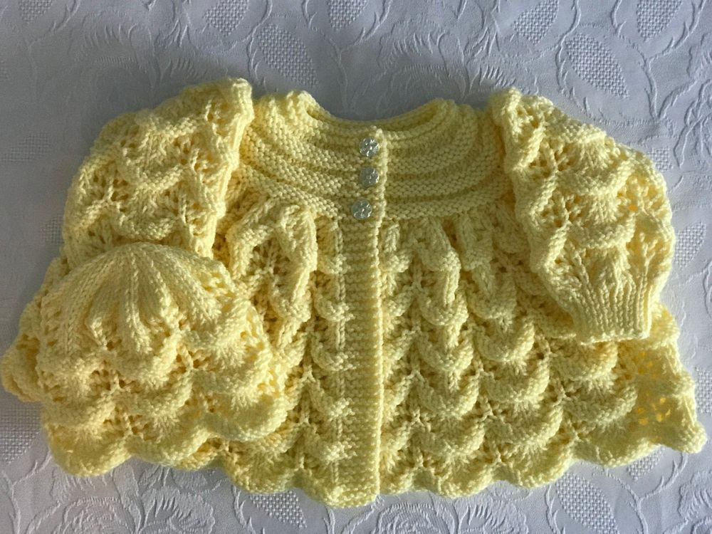 fee87e716 New Hand knitted Baby Girl s Lemon Matinee Cardigan and Hat Set 0-3 ...