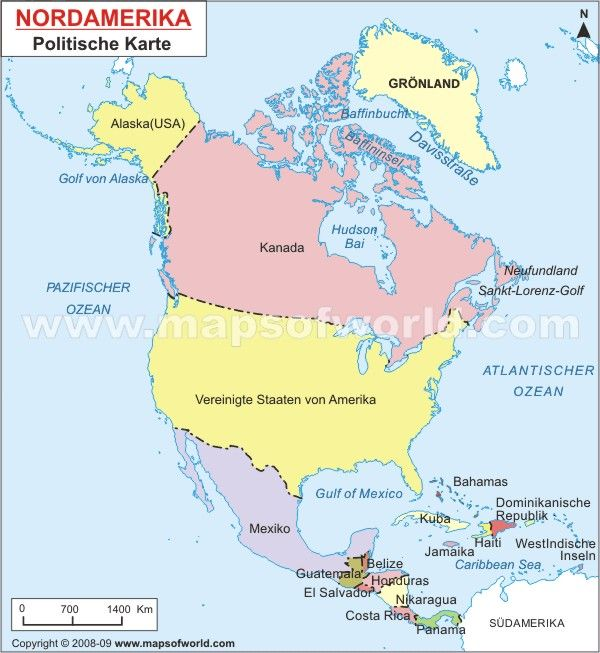 Nordamerika Karte North America Map In German Amerika Alaska Usa