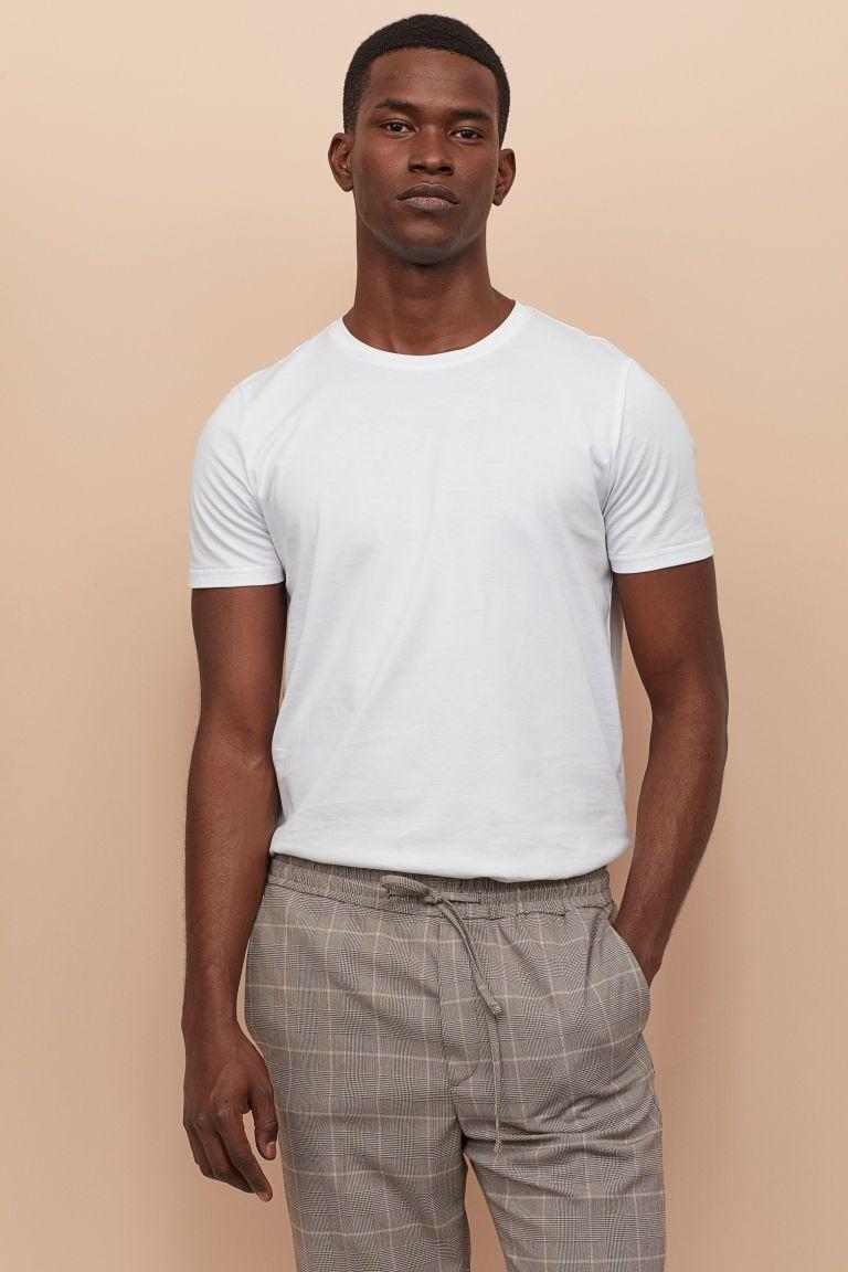 Premium Cotton T Shirt White Men H M Us Stylish Men Casual White Tees Outfit Mens Fashion Inspiration [ 1152 x 768 Pixel ]