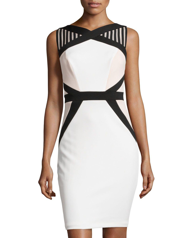 JAX Mesh Shoulder Colorblock Cocktail Dress. Taille 36. REF 3389/36 ...