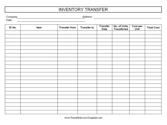 inventory transfer sheet template inventory sheet templates