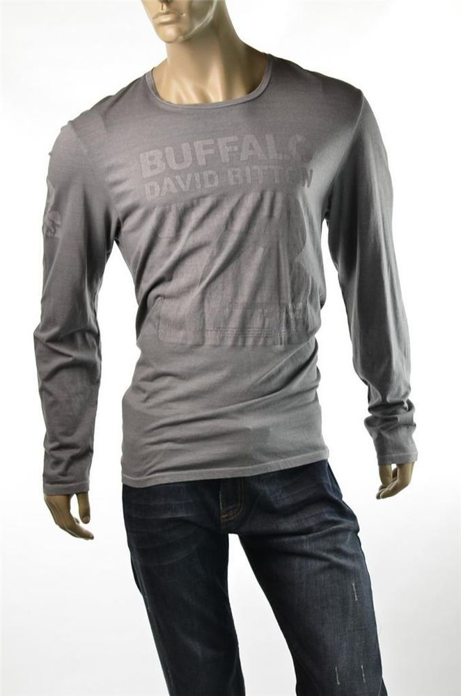 Buffalo Shirt David Bitton Tee Shirts L/S Crew Graphic T Shirts Sz XL New