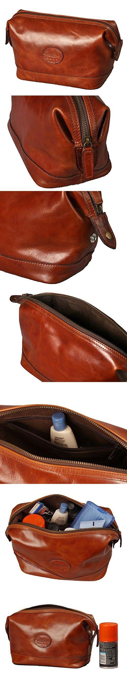 8b01cc1efaa Leather Toiletry Bag for Men – Zippered Dopp Kit Organizer – Brown Travel  Shaving Kit Case