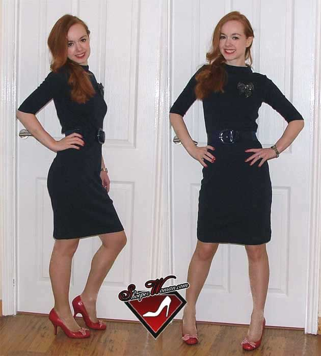 Fashion black dress red shoes