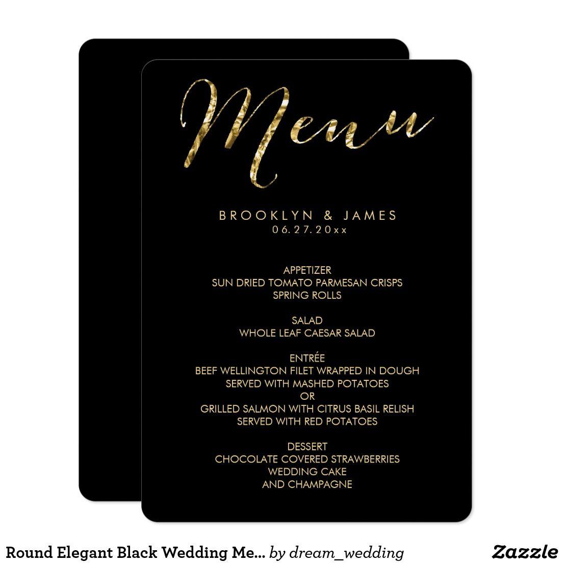 Round Elegant Black Wedding Menu With Gold Foil Zazzle Com