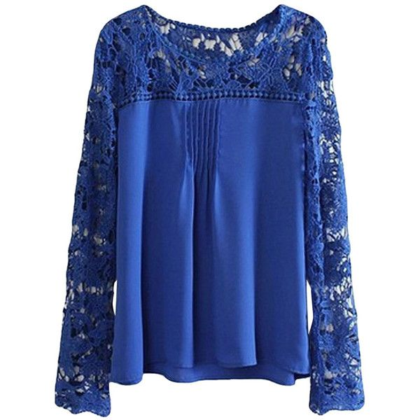 Sapphire Blue Plus Size Cut Out Chiffon Long Sleeve Ladies Blouse ($10) ❤ liked on Polyvore featuring tops, blouses, sapphire blue, womens plus tops, plus size tops, long sleeve chiffon blouse, blue long sleeve blouse and women plus size tops