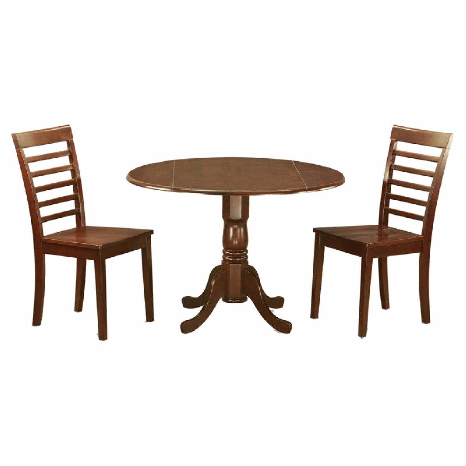 East west furniture dublin 3 piece drop leaf round dining table set with milan wooden seat