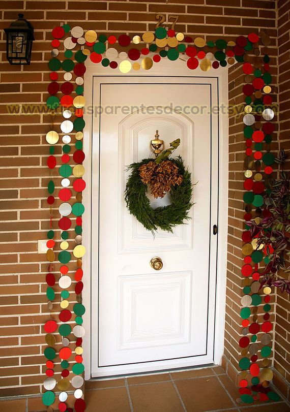Red Green Garland Christmas Door Decor Front Door Christmas Decor