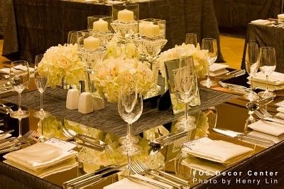 Hydrangea Candles White Against Black Contrast Mirror Table Topper