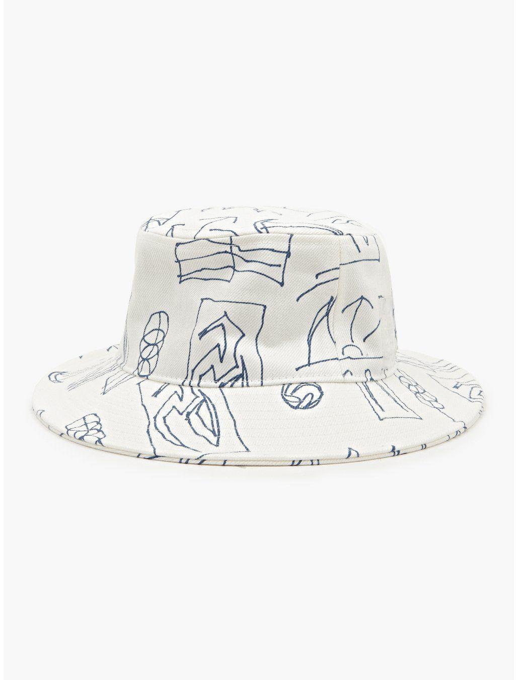 GOSHA RUBCHINSKIY WHITE DENIM PRINTED BUCKET HAT  717fd0da01c