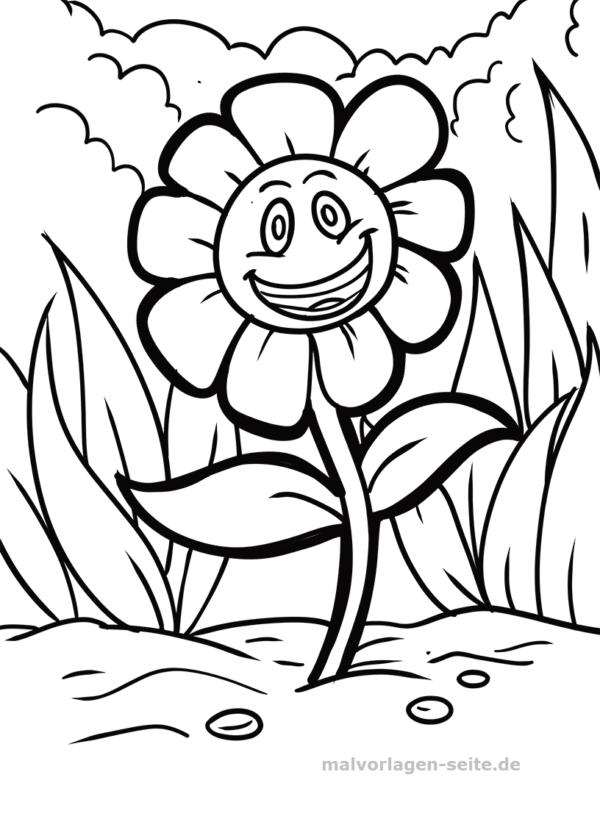 Malvorlage lachende Blume Pflanzen Malvorlagen