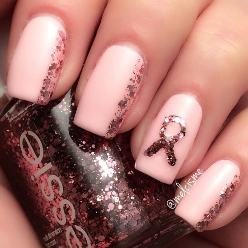 Pink Ribbon Nails nail art by Melissa | All Nails Baby ...