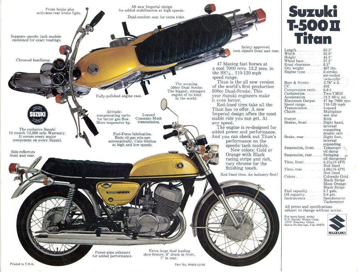 1969 suzuki t-500 titan sales specs ad/ brochure | brochures