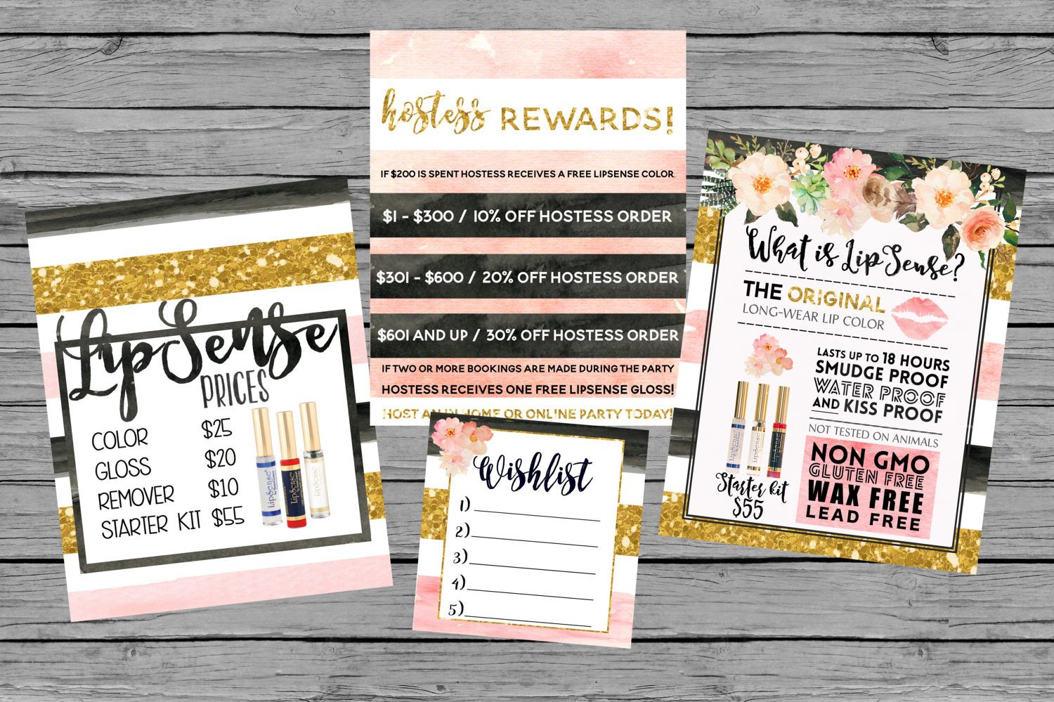 instant download lipsense printables gold blush pink watercolor