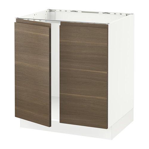 Sektion Base Cabinet For Sink 2 Doors White Voxtorp Walnut