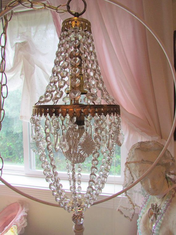 Vintage Crystal Empire Chandelier With Beaded Bulb Cover