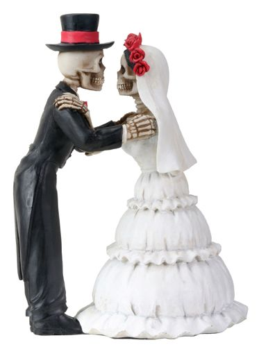 Day Of The Dead DOD Skeleton Wedding Couple Kiss Statue Figurine