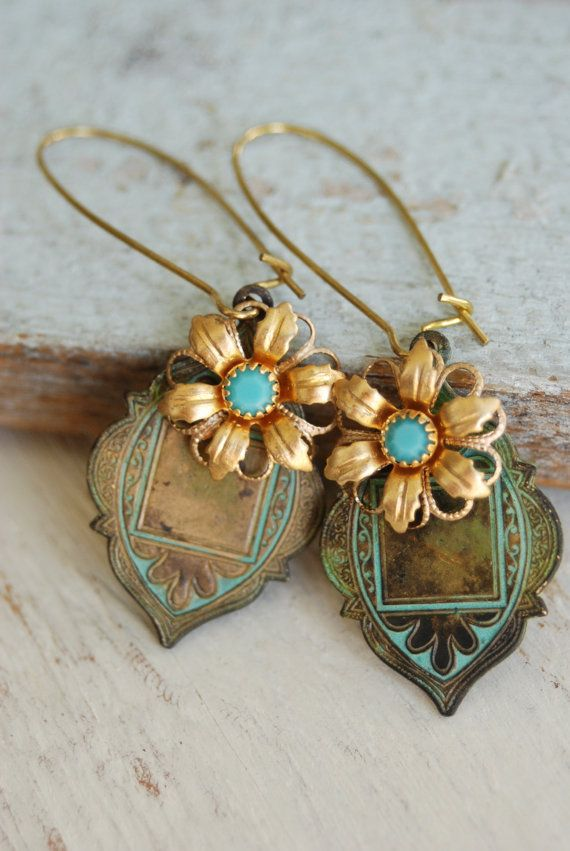 Chloe.bohemian turquoise crystal beaded earrings. tiedupmemories