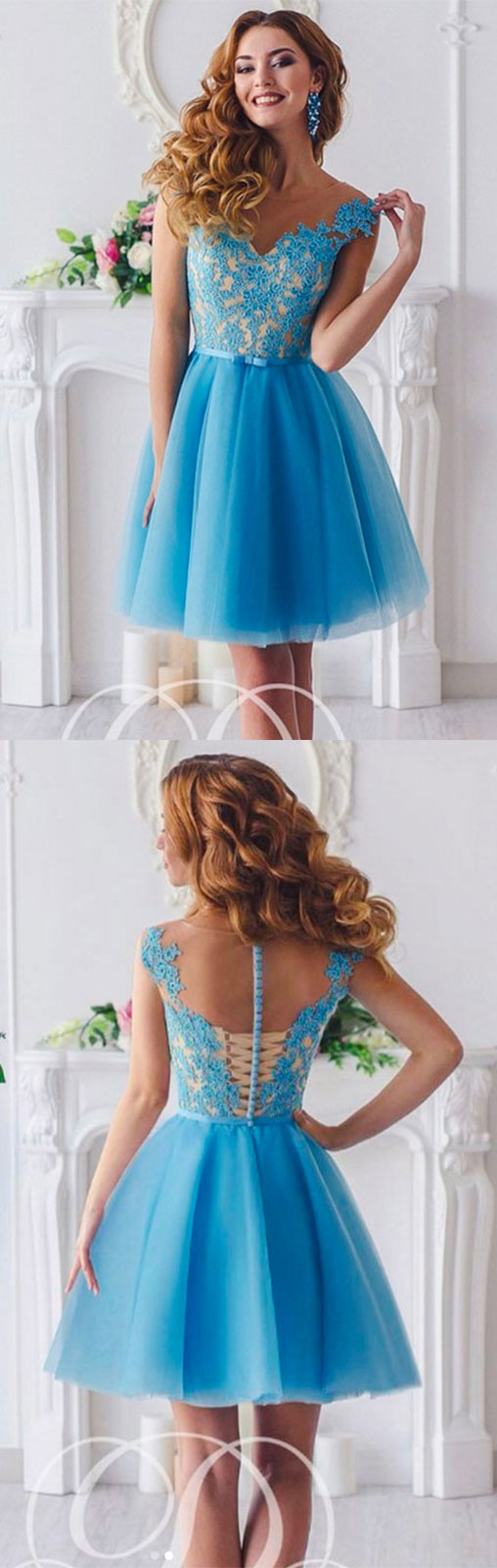Cute blue lace tulle short prom dress cute homecoming dress