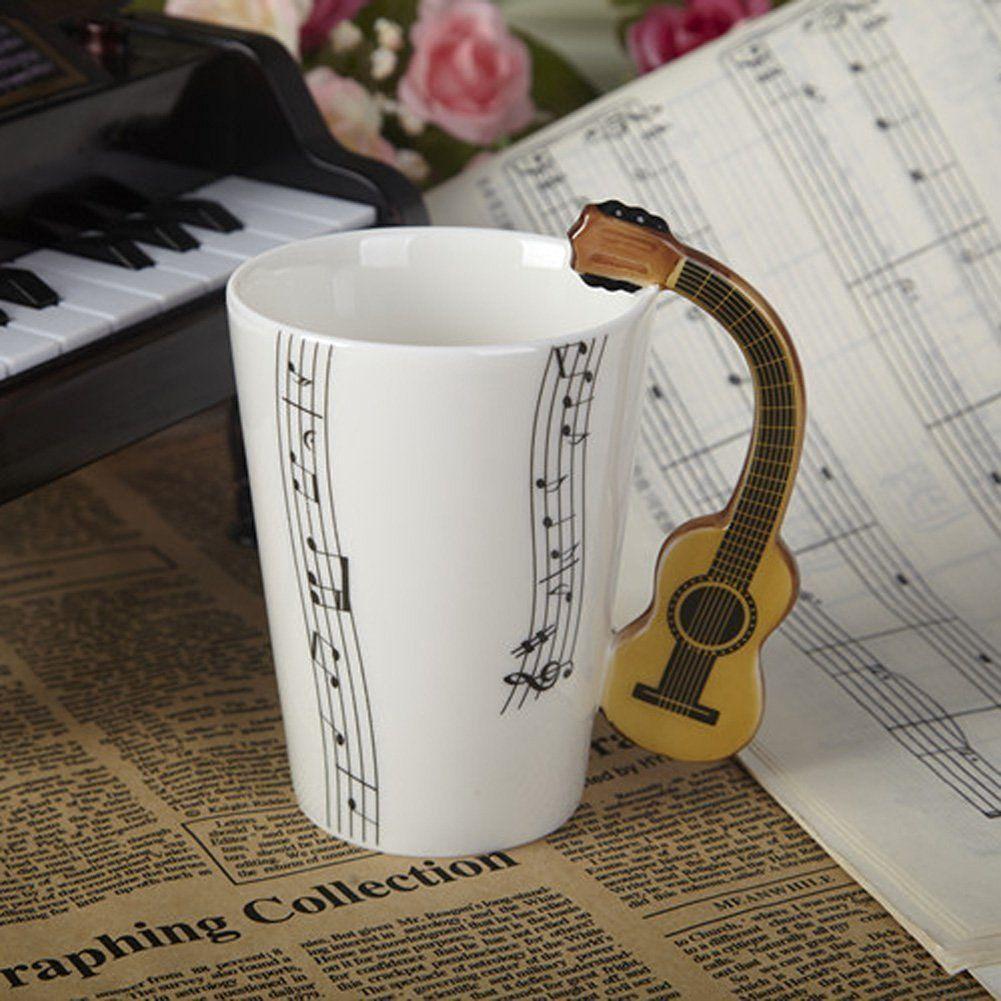 Giftgarden Kaffeetasse Teebecher mit gelber Gitarre-Griff ...