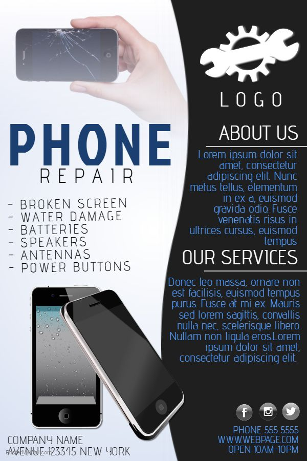 small business flyer poster social media template phone repair