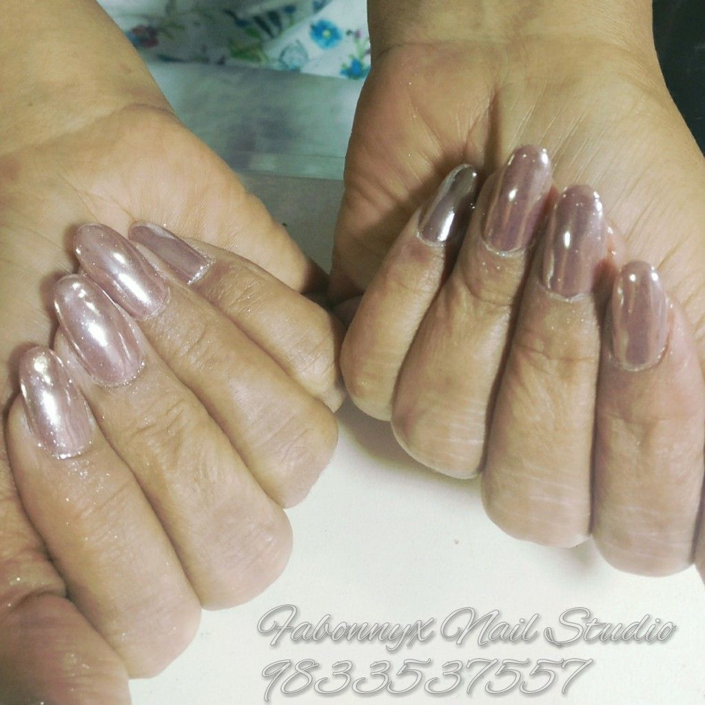Light Rose Gold And Copper Chrome Nails Gel Extensions Oval
