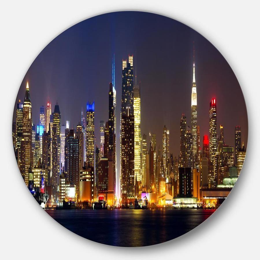 Designart New York Skyline At Night Cityscape Photo Circle Metal Wall Art Lowes Com Circle Metal Wall Art Metal Wall Art Cityscape