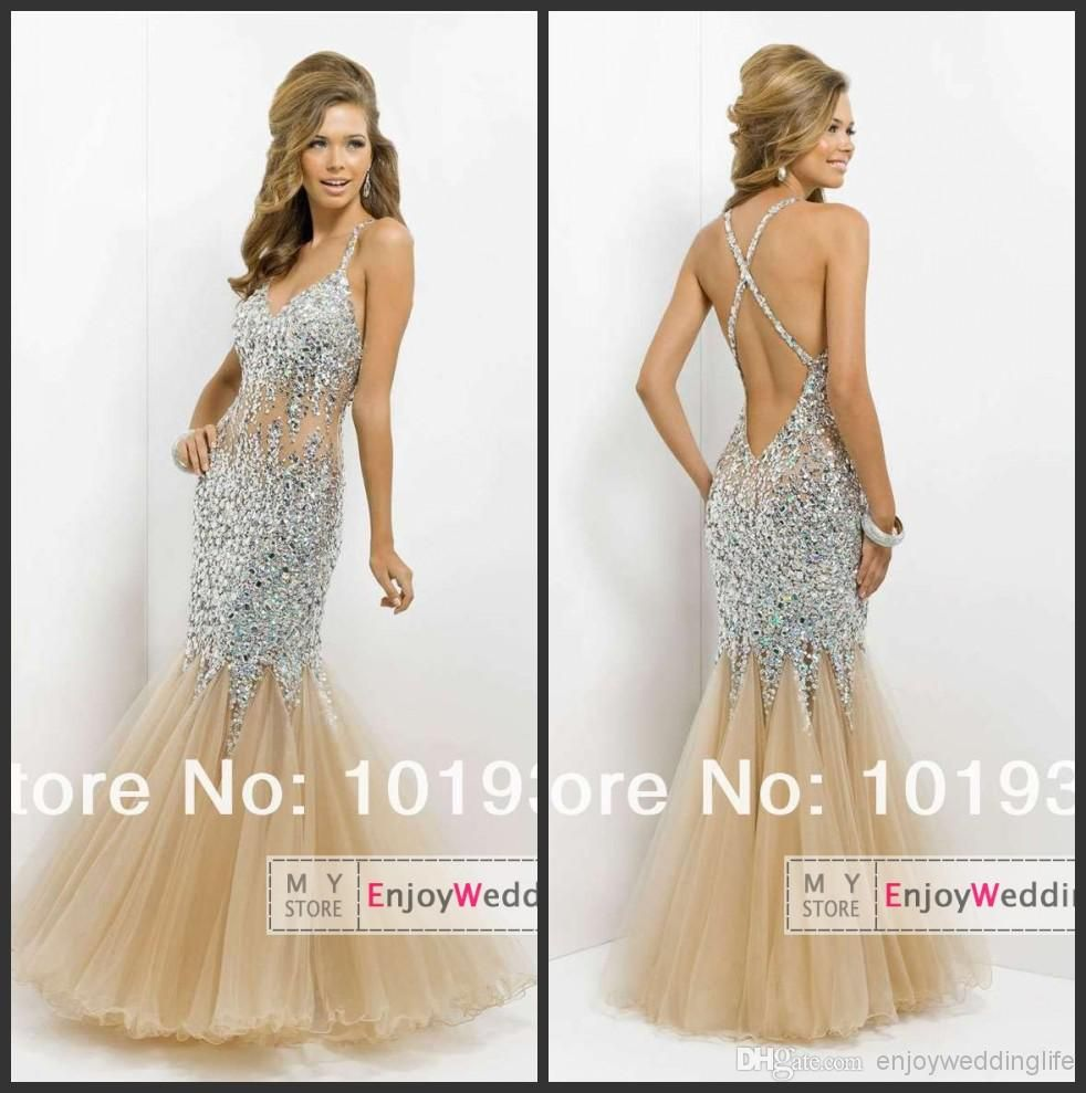 Cheap Prom Dresses - Discount Sexy Spaghetti Straps Tulle Mermaid ...
