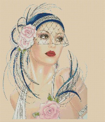 Cross stitch chart Art Deco Lady blue