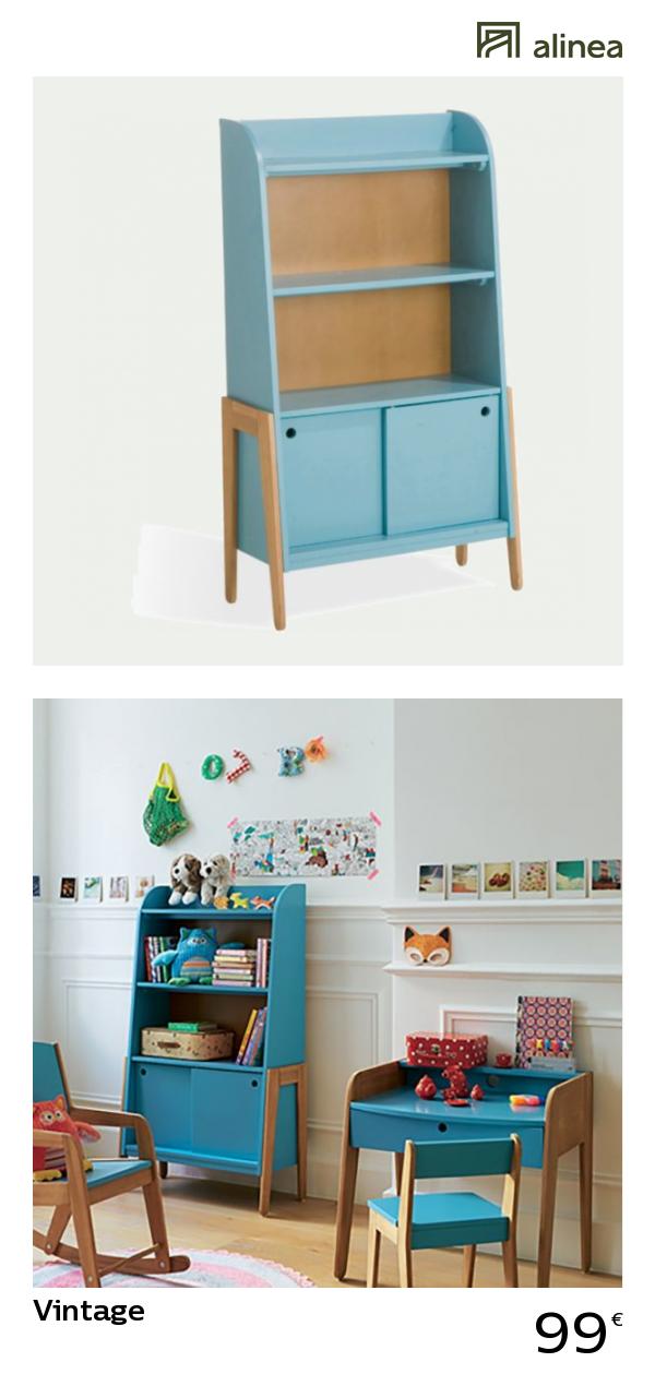 alinea vintage bibliotheque vintage bleue pour enfant enfant rangements enfant alinea decoration