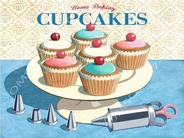 Home Baking Cupcakes Metal Sign Retro Kitchen Decor Vintage