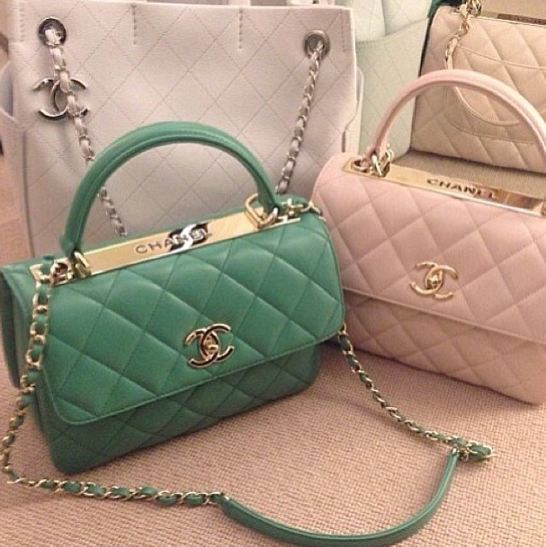Chanel Mint Green and Light Pink Trendy CC Dual Handle Small Flap ...