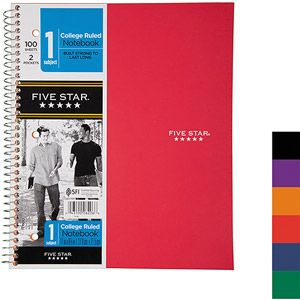 mead five star 1 subject notebook two pockets college rule 100 sheets colors may vary