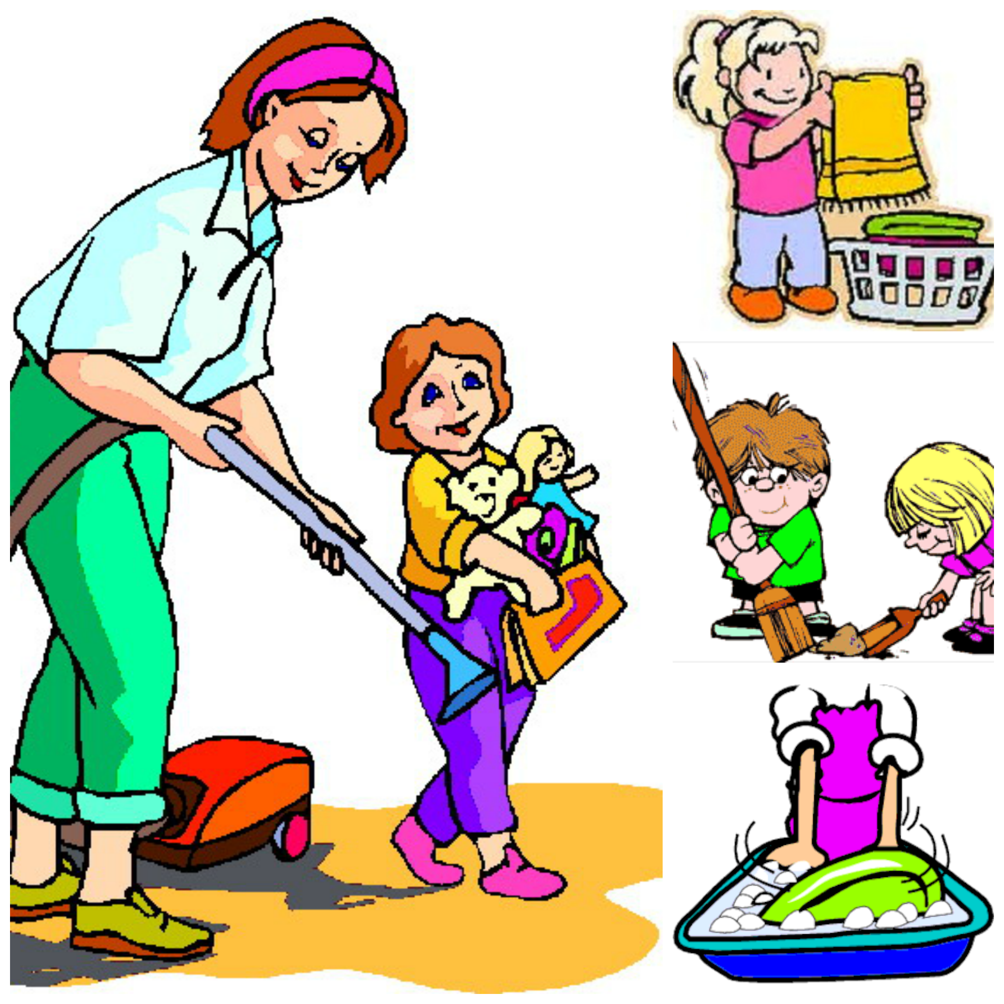 Children Helping Parents At Home Clipart