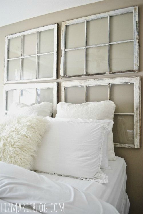 DIY Antique Window Headboard @Leanne Bucaro Iu0027m Liking This Too, Simple!