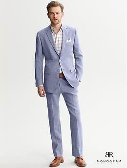 BR Monogram Blue Linen Two-Button Suit Jacket | Banana Republic ...