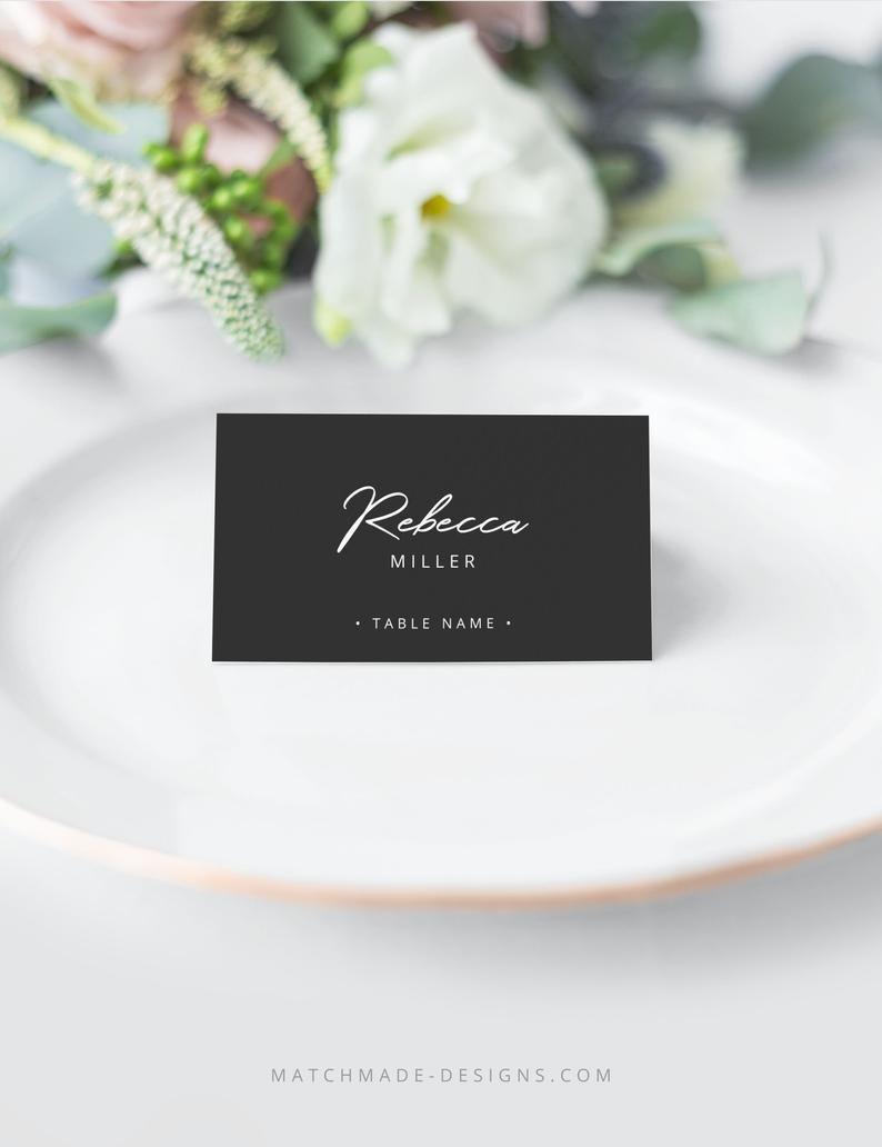 Black Wedding Place Card Template Printable Name Card Black Etsy Wedding Table Name Cards Wedding Place Card Templates Card Table Wedding